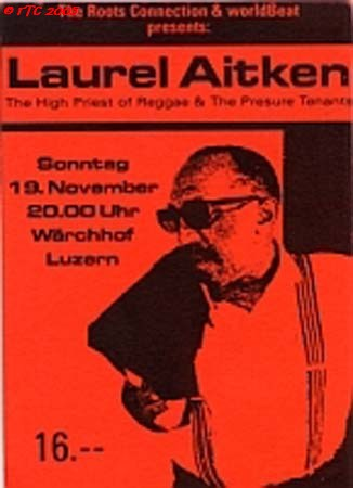 Laurel Aitken flyer from his visit in Lucerne 1995