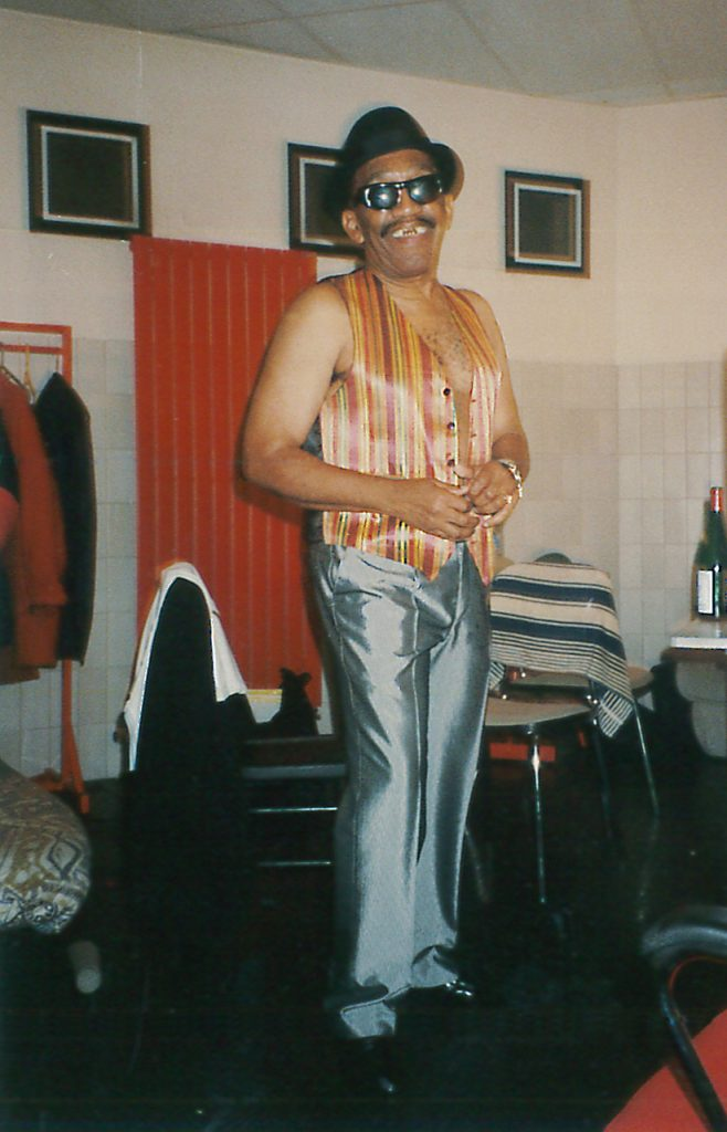 Laurel Aitken in the backstage, preparing his first live show with The Skatalites