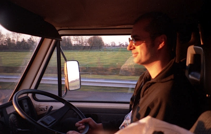 Jeff Lucas driving the blue van to Leeuwarden, Netherlands 1996