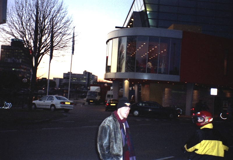 Bill Smith in front of Harmonie, Leeuwarden, Netherlands 1996