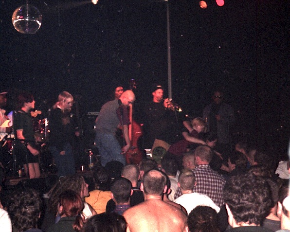 The Skatalites with fans on stage at Effenaar, Eindhoven, Netherlands 1996