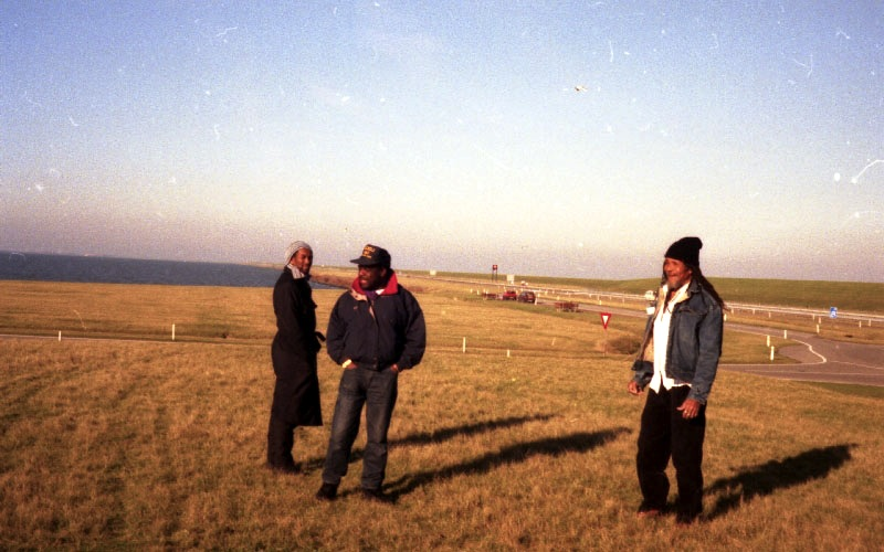Cutty Williams, Devon James, Lloyd Brevett somewhere in Netherlands on the way to Eindhoven 1996