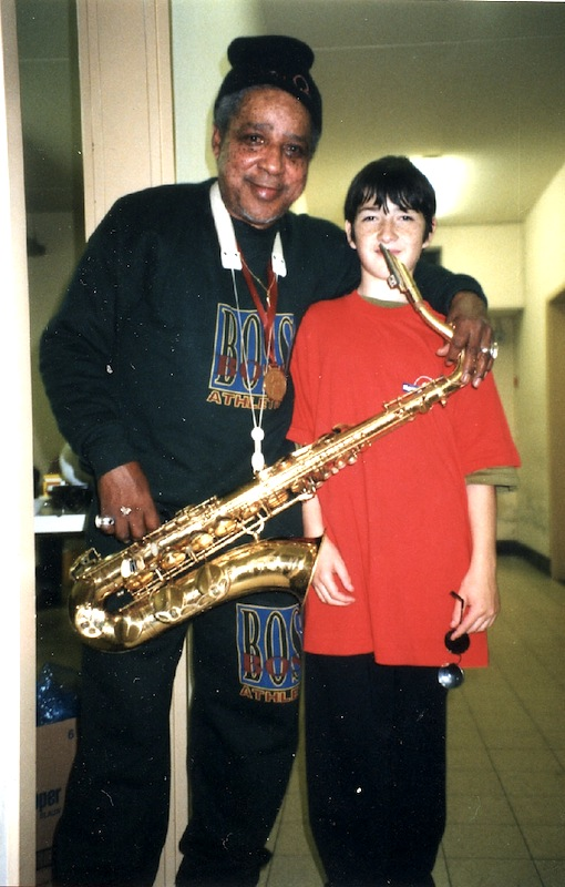 Rolando Alphonso & boy, backstage Hof Ter Lo, Antwerp, Belgium 1996