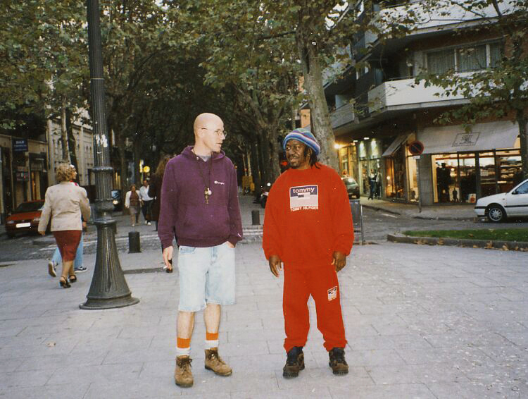 Bill Smith, Lester Sterling and I searching for a toilet in Barcelona 1996