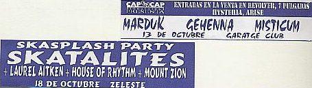 Flyer Skasplash Barcelona 1996, at Zeleste, but it was at Garatge