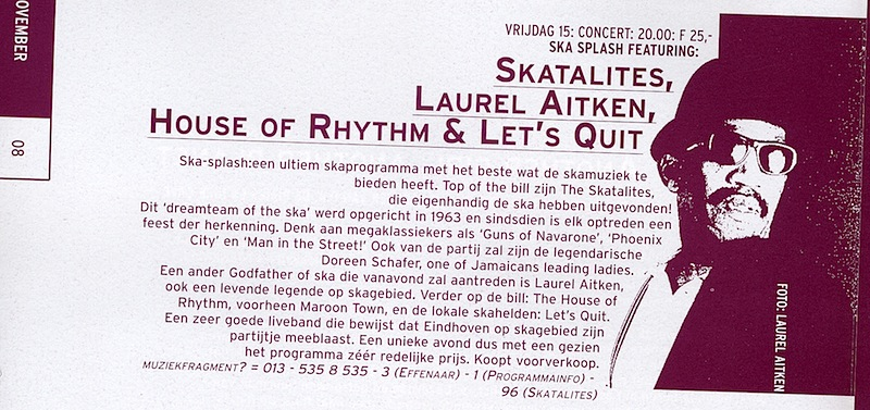 Booklet for Skasplash at Effenaar, Eindhoven, Netherlands 1996