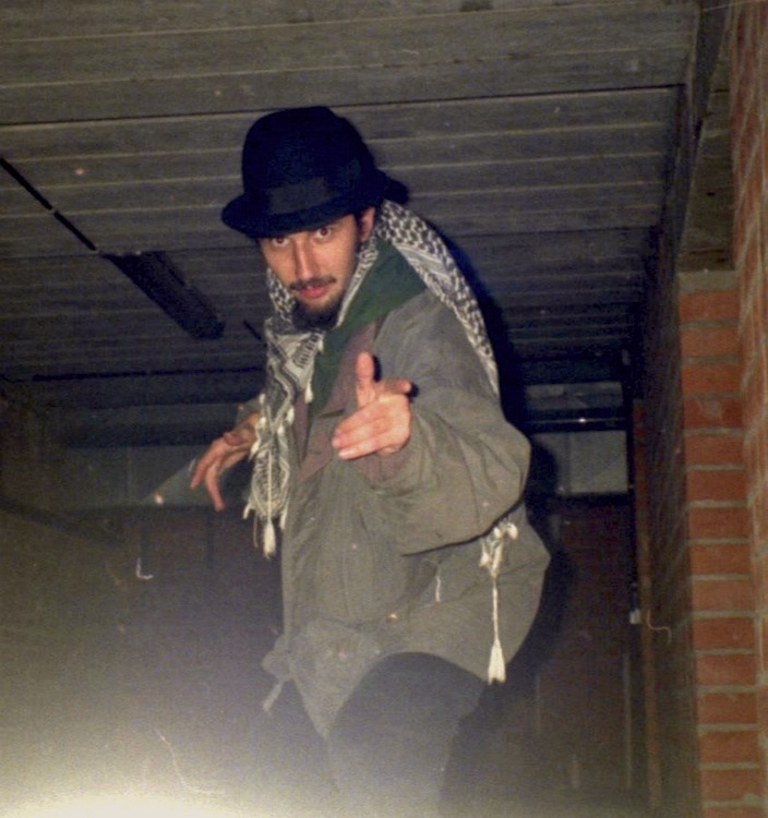 Ras Claude with Laurel Aitken's pork pie hat backstage Hof Ter Lo, Antwerp, Belgium 1996