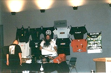 Barney at the merchandise, at Harmonie, Leeuwarden, Netherlands 1996