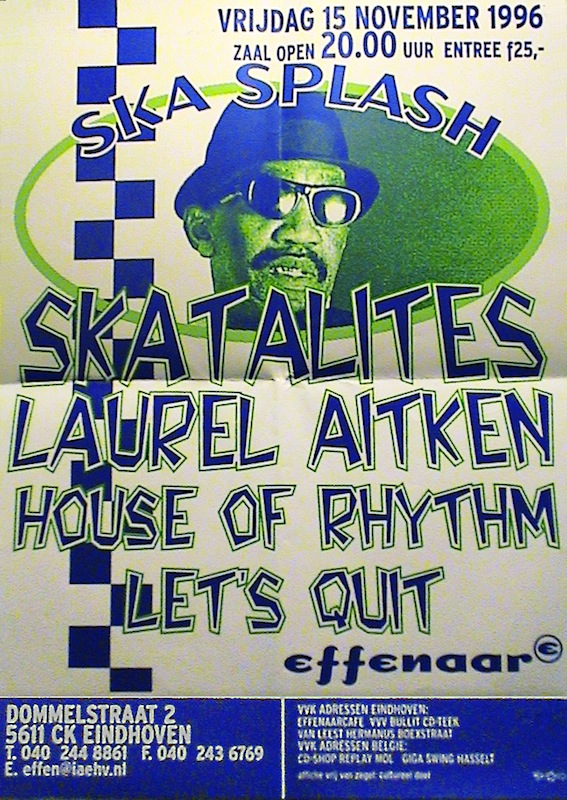 Skasplash poster at Effenaar, Eindhoven, Netherlands 1996