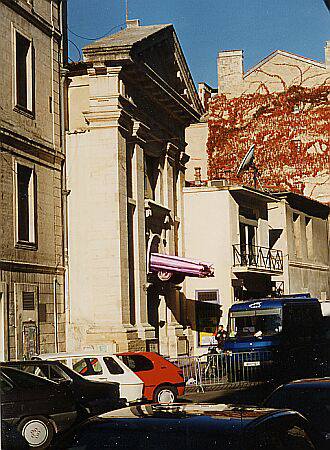 Entrance to Rockstore with the Cadillac over the door and the blue van beside, Montpellier 1996