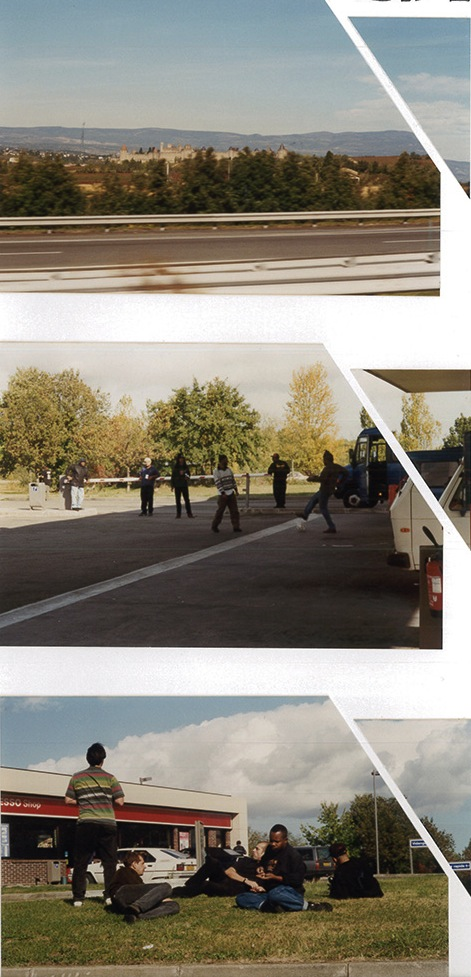 Highway stop and enjoying to step around on the way to Bordeaux 1996