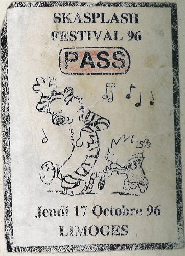 Backstage pass Skasplash Limoges 1996