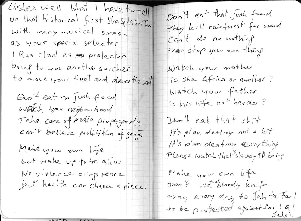 Double page from my diary, a little poem, Tours 1996