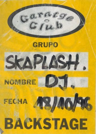 Backstage pass Skasplash Gartage, 1996