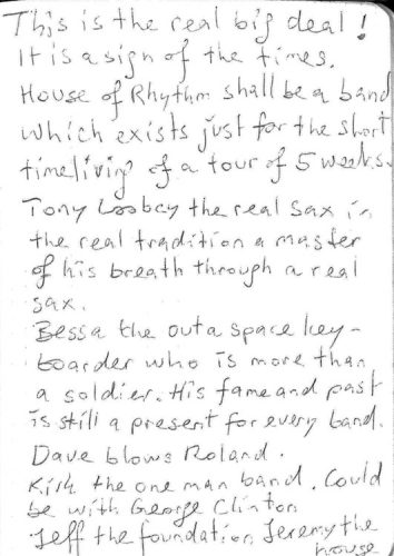 Page out of my diary about House Of Rhythm 1996