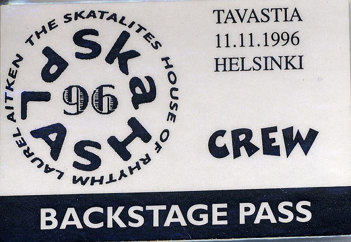 Backstage pass as crew member, Tavastia, Helsinki, 1996