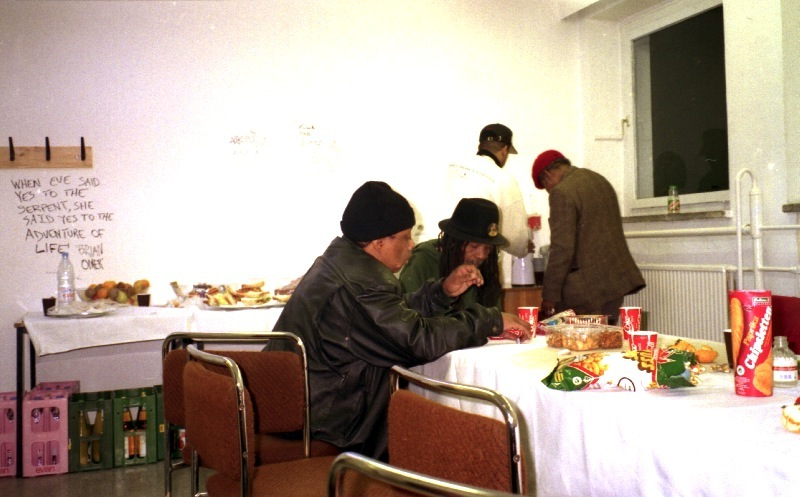 Will Clark, Lloyd Brevett, Nathan Breedlove, Rolando Alphonso, backstage, Kraftwerk Chemnitz 1996
