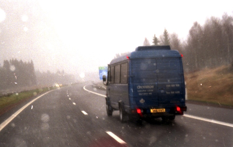 The blue van again across Sweden while it's snowing 1996