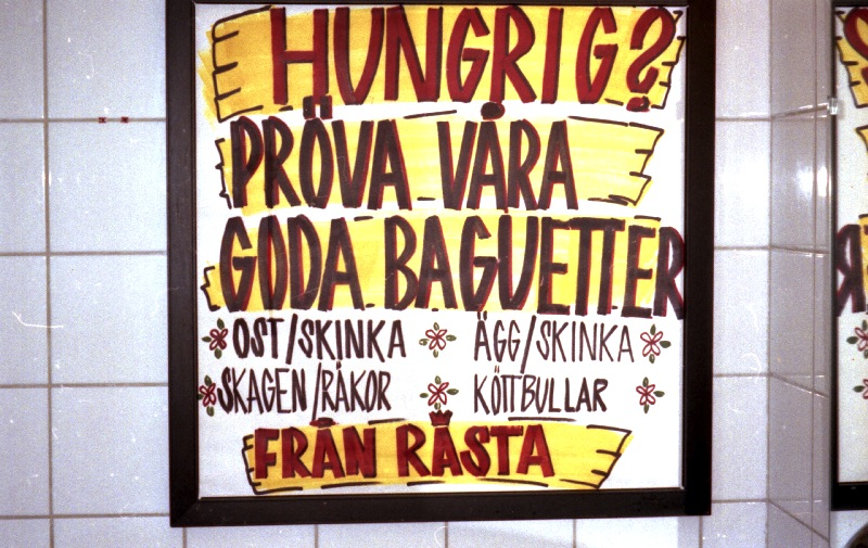 Poster on the toilet, with Skagen and Fran Rasta, somewhere in Sweden 1996