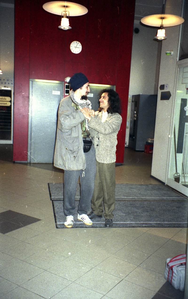 Ram and Ras Claude in the hotel lobby, Helsinki, Finland 1996