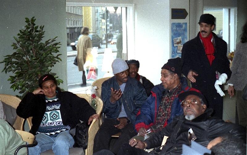 Hotel lobby with Doreen Shaffer, man from Ethiopia, Laurel Aitken, Rolando Alphonso, Lloyd Knibb, Julio Romero, Helsinki, Finland 1996