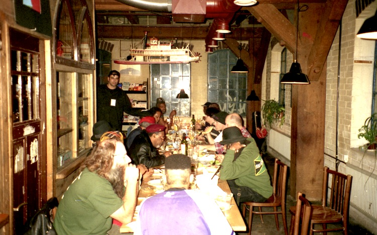 The crew having diner at Fabrik, Hamburg 1996