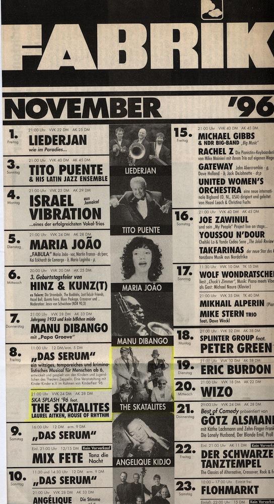 Programm November 1996 Fabrik, Hamburg