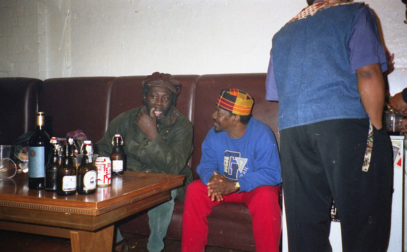 Jamaica Papa Curvin and Lester Sterling, backstage at Fabrik, Hamburg 1996