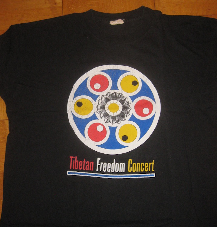 T-Shirt front of Tibetan Freedom Concert, a present from Will Clark 1996