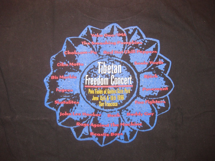 Backside of the Tibetan Freedom Concert t-shirt, 1996