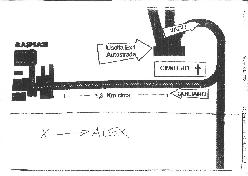 Plan to reach the hotel from palasport Quiliano 1996