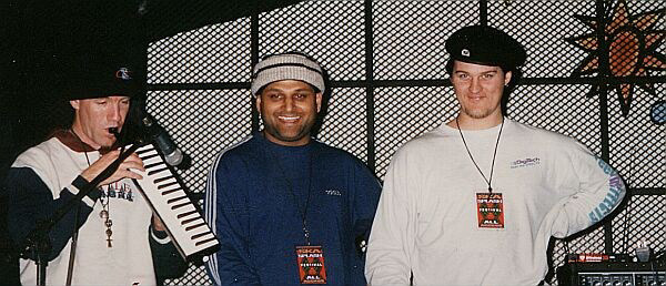 Bill Smith, Shay and Duncan at soundcheck, Libre Tutti, Aosta 1996