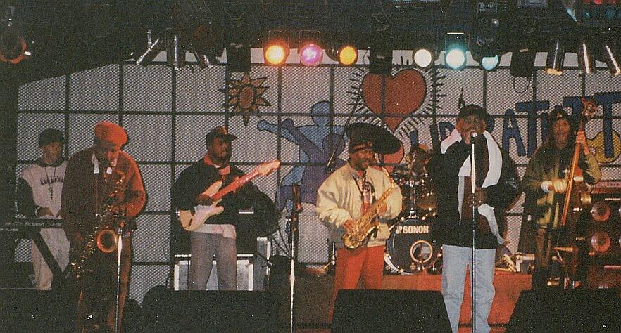 Laurel Aitken & The Skatalites at soundcheck, Libre Tutti, Aosta 1996