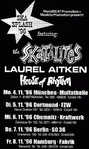 Flyer for the German shows Skasplash 1996
