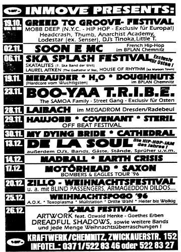Flyer Skasplash 1996, Kraftwerk Chemnitz