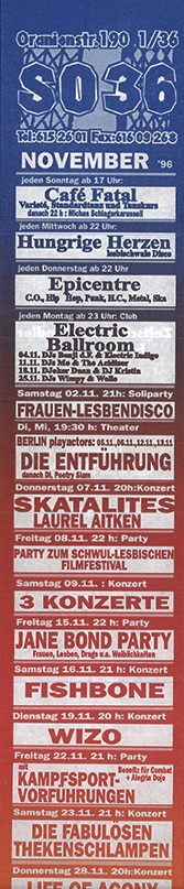 SO 36 flyer November 1996